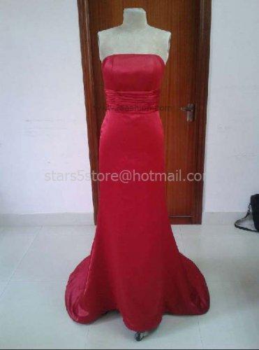 Red Satin Long Bridesmaid Dress Mermaid Wedding Evening Party Dress MB17