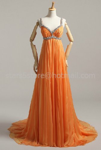 Red Orange Long Evening Dress A-line Chiffon Halter Empire Waist Wedding Party Prom Dress EP04