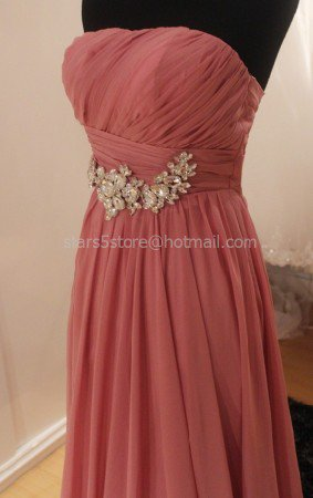 Rose Pink Evening Dress A-line Chiffon Strapless Beads Wedding Party Prom Dress EP10