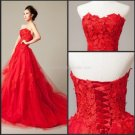 Strapless Wedding Dress A-line Lace Red White Ivory Bridal Bridal Wedding Ball Gown C1318