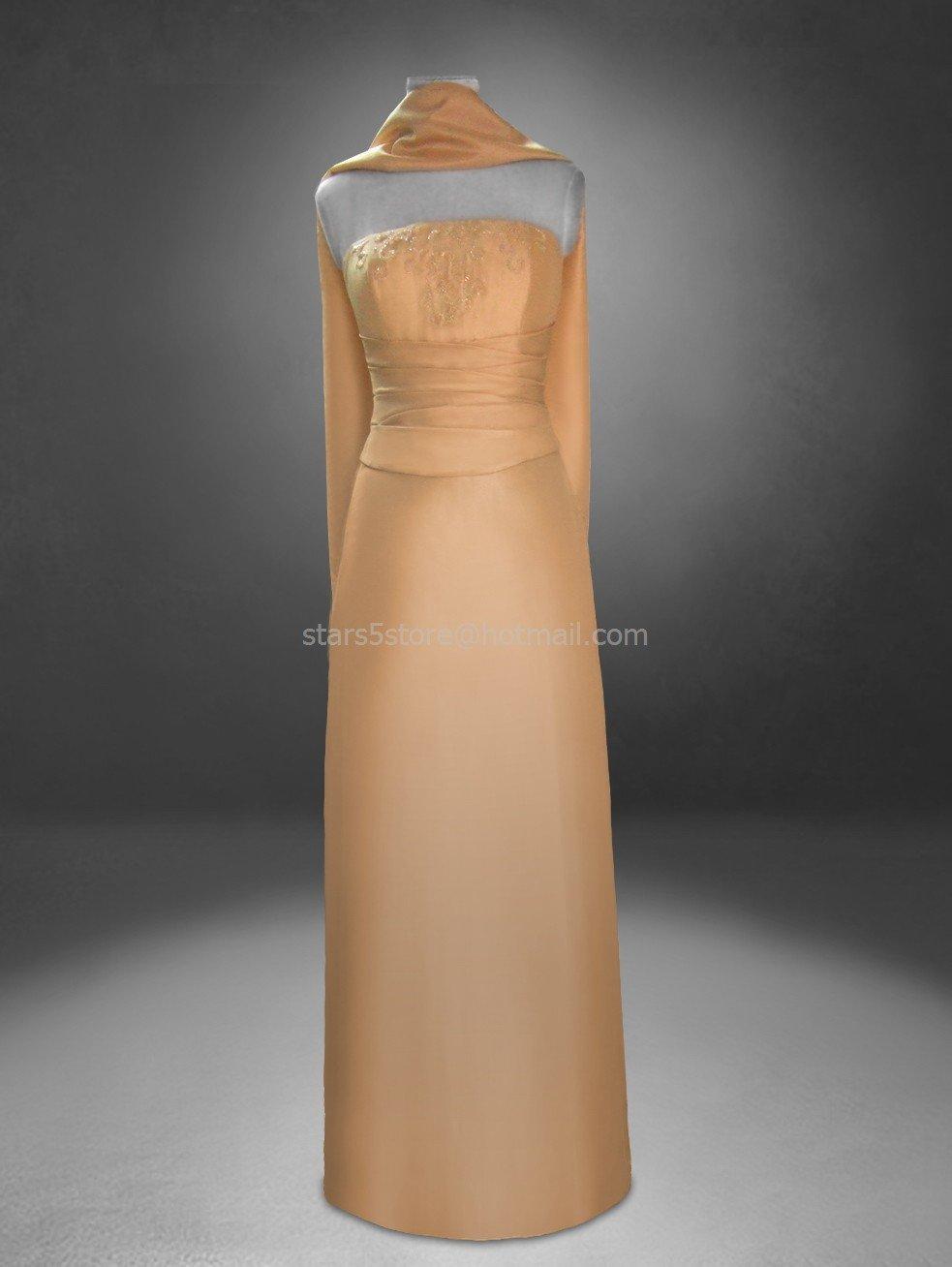 Gold Satin Mother of the Bride Dress Custom Strapless Sheath Free Shawl Wedding Formal Dress Mm03