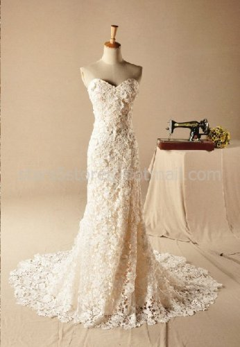 Strapless Wedding Dress Mermaid Trumpet Venice Lace Bridal Wedding Gown H13107