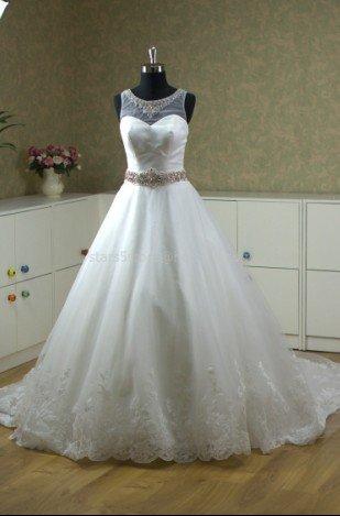 Sheer Round Neck Wedding Dress A-line Lace Edge Rhinestones SASH Wedding Ball Gown H13128