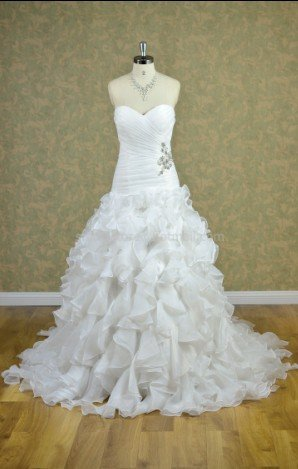 SWEETHEART Wedding Dress A-line Cascading Ruffles Wedding Ball Gown H13129