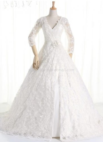 Long Sleeves Wedding Dress A-line Lace Tulle V-neck Wedding Ball Gown H13173