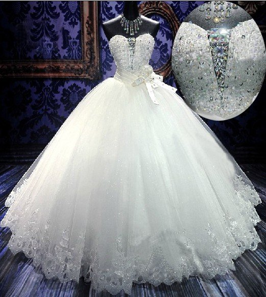 White Wedding Dress Song: Strapless Sweethart Wedding Dress Princess Crystal