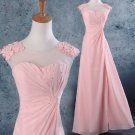 Long Bridesmaid Dresses Pink Chiffon Bridesmaid Dress A-line V-neck Evening Party Dress MB153