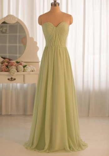 New Bridesmaid Dresses Green Chiffon A-line Strapless Wedding Party Dress MB160