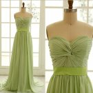 New Bridesmaid Dresses Emerald Green Chiffon Size 2-16+Custom A-line Strapless  Party Dress MB166