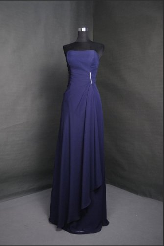 New Bridesmaid Dresses Blue Chiffon Size 2-16+Custom A-line Strapless  Party Dress MB167