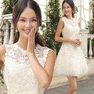New Bridesmaid Dresses White Ivory Lace Size 2-16+Custom A-line Sheer NecklineParty Dress MB168