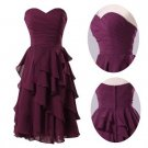 New Bridesmaid Dresses Purple Chiffon Size 2-16+Custom A-line Short Sleeves Party Dress MB170