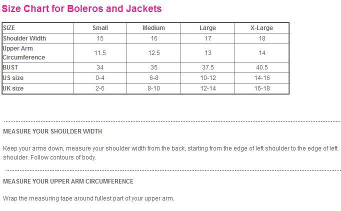5 Stars Store Wedding Dress Evening Dress Formal Gown Bolero Jacket Measure Guide Chart