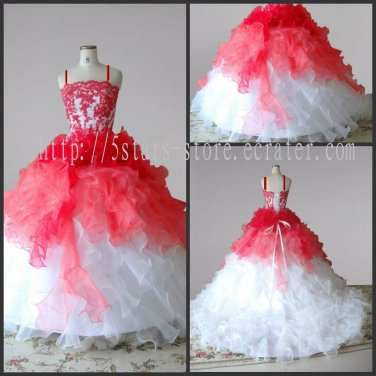 Junior Bridesmaid Dress Custom Multi Orange Girl's Wedding Party Prom Dress Flower Girl Dress