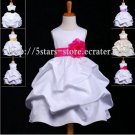 Custom Satin Flower SASH Girl's Wedding Party Prom Gown Flower Girl Dress