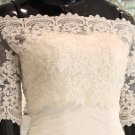 Bridal Vest 3/4 Sleeve Alencon Lace white ivory Off Shoulder Beads  Wedding Bolero Jacket RJ177