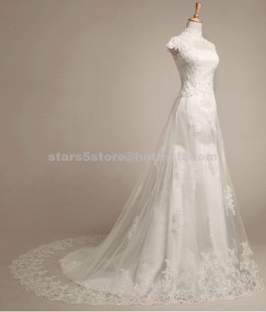 A-Line Wedding Dress High Neck Cap Sleeve Embroidery Princess Floor-Length Organza Bridal Gown W109