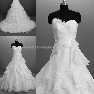 Strapless A-Line Bride Dress Sweetheart Sleeveless Tiered Ruffles Sweep Train Wedding Dresses W106