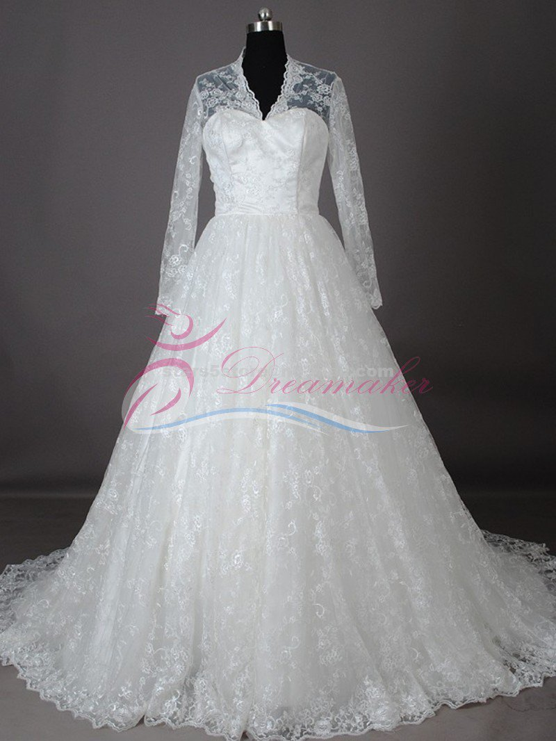 Sweetheart Lace Winter Ball Gown Cap Sleeve Button Princess Long A-Line Wedding Dress W107