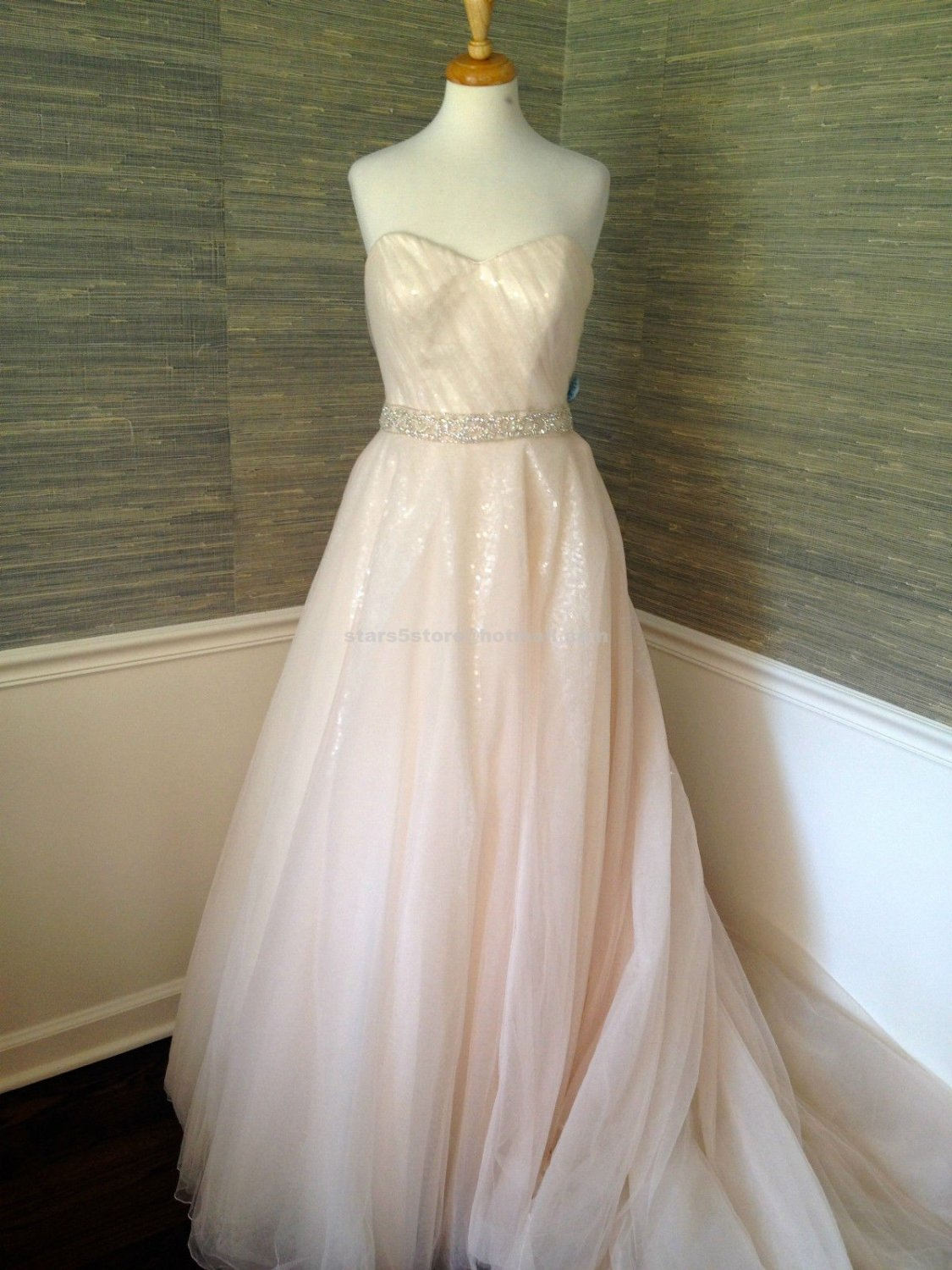 A-Line Wedding Dresses Sweetheart Backless Beading Sequined Pink Wedding Gowns W102