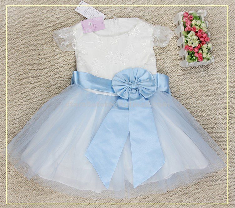 Scoop Neck Short Sleeve Wedding Party Prom Ball Gown Free Ship Beautiful Flower Girl Dresses F102