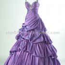 Purple Evening Ball Gown Halter Sweetheart Appliques Sequined Wedding Party Prom Gown EP18
