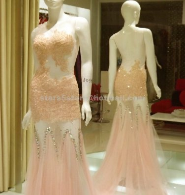 White Pink  Long Evening Dress Lace Tulle Crystal Mermaid Wedding Party Prom Gowns EP20