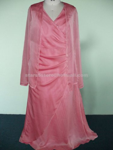 Chiffon Mother of the Bride Dress With Jacket Long Sleeve Appliques Mother of the Bride Dress Mm06