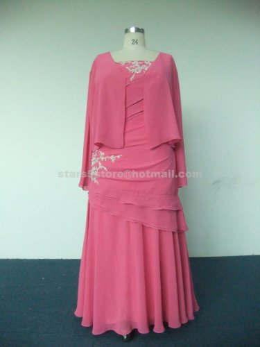 Pink Chiffon Mother of the Bride Dress Long Sleeve Appliques Mother of the Bride Dress Mm07