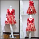 Red Ball Gown Scoop Neck Long Sleeve Appliqued Lace Mini Length Cocktail Dress CL04