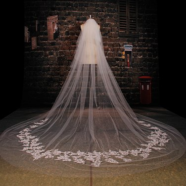 Bridal Wedding Veils Cathedral Cut Tulle 3 Meters Lace Ruffles white ivory Wedding Veil V4