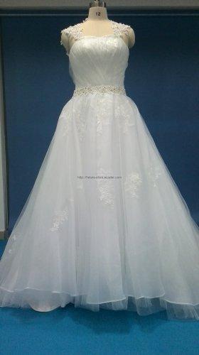 Cap Sleeves A-Line Bride Dress Sweetheart Beading Tiered Ruffles Wedding Dresses Bl02