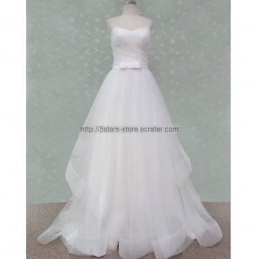 A-Line Tulle Bridal Formal Dress Bow Sash Ruffles Simple Wedding Dresses 2015 New Bl18
