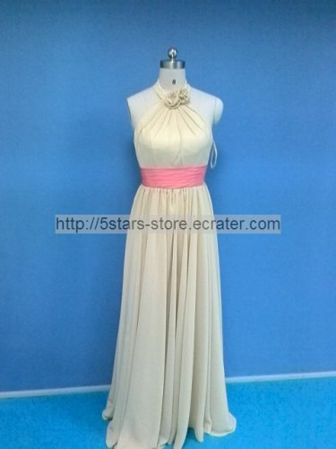 New Bridesmaid Dresses Coral Chiffon A-line Collar Evening Party Formal Dress MB171