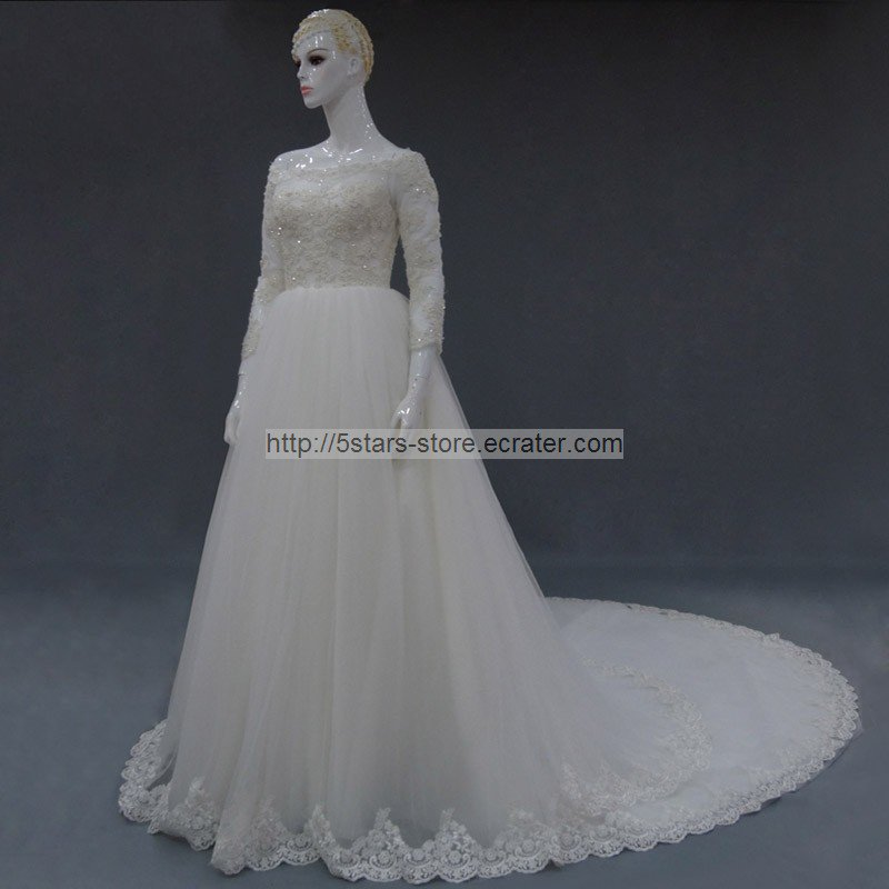 Lace Bridal Gown Sequins 3/4 Sleeves Off Shoulder Wedding Dresses 2015 New Bl20