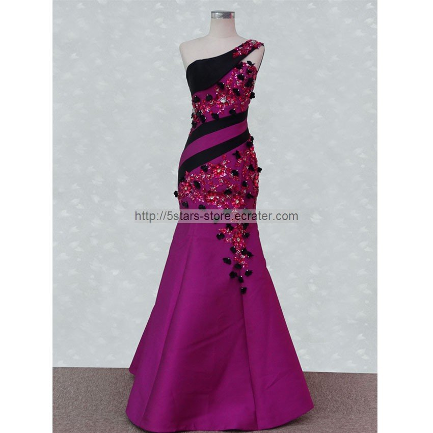 Fuchsia Mother of the Bride Dress Black Crystals Purple Satin Long Evening Prom Dress MM023