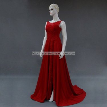 Red Wedding Formal Gowns Side Split Lace Crystals Long Evening Prom Dress 2015 MM025