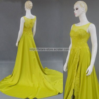 Lemon Green Wedding Formal Gowns Side Split Lace Crystals Long Evening Prom Dress 2015 MM026