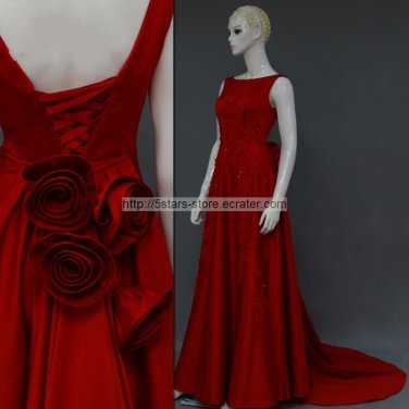 A-line Red Satin Formal Dresses Sheer Round Neckline Crystals Beading Long Evening Prom Dress MM027