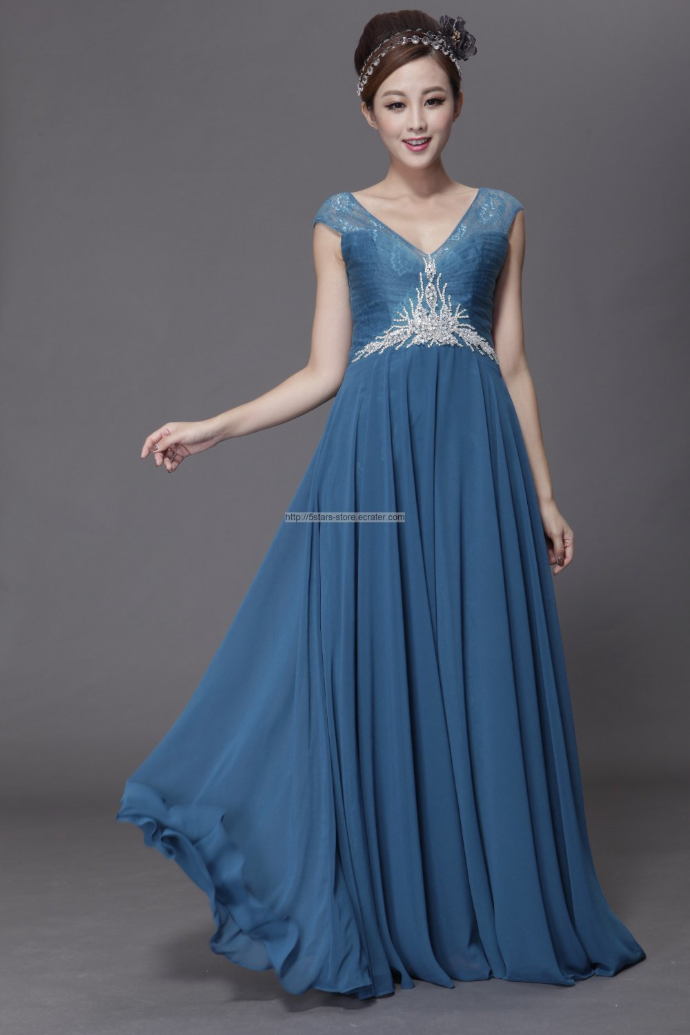 A-line Steel Blue Formal Gown Cap Sleeves Beading Beading Long Party ...