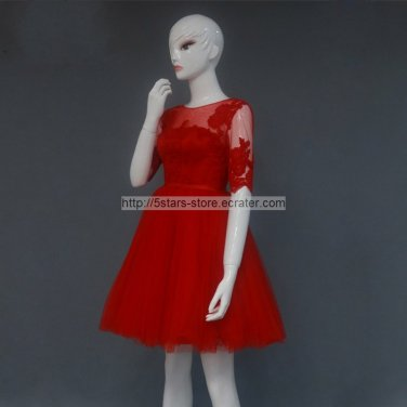 Red Ball Gown Scoop Neck Wedding Dress Long Sleeve Appliqued Lace Mini Length Cocktail Dress mm34