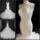 Sheer Neckline Bridal Ball Gown Crystal Jewelry Lace Tulle Luxury Mermaid Wedding Dresses Bl23