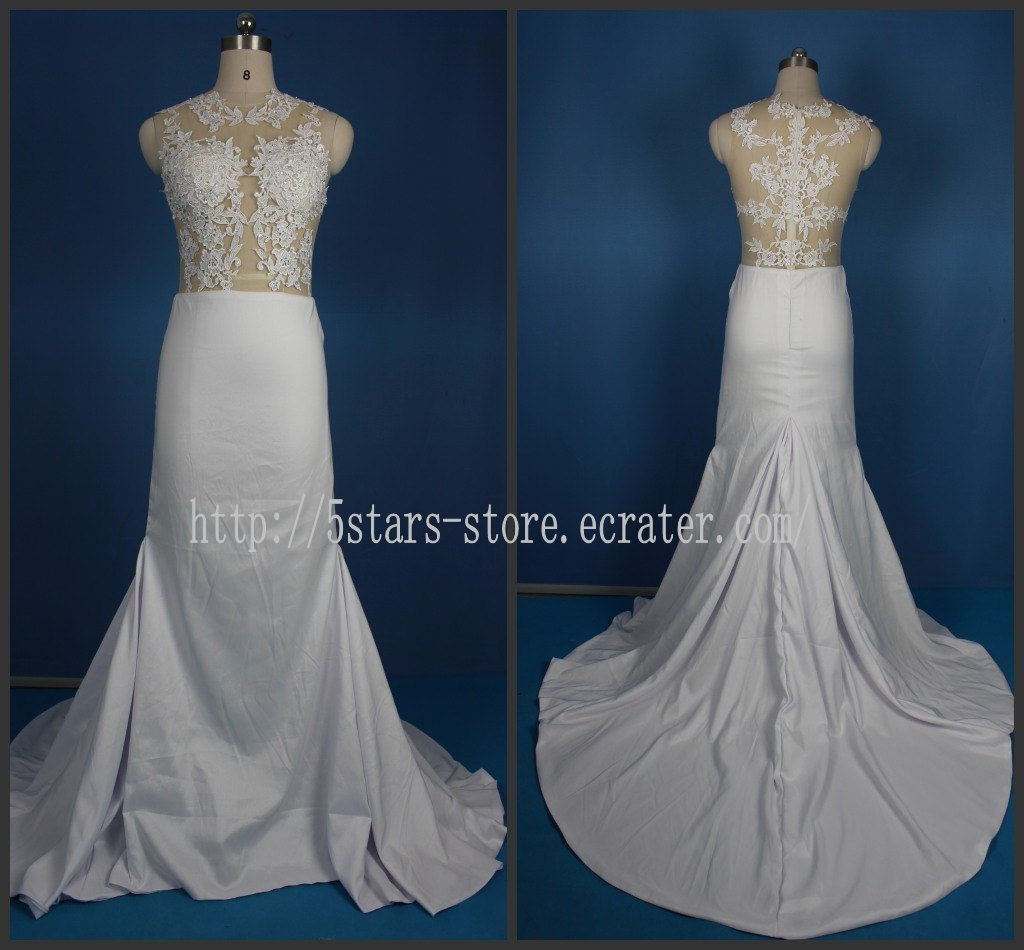 Sheer Bodice Bridal Gown Beading Lace Satin Luxury Mermaid Wedding Dresses Bl154