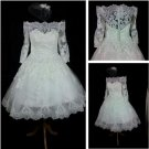 Off Shoulder Short Wedding Dress A-line 3/4 Sleeves Lace Bridal Wedding Gown H15425