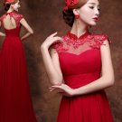 High Neckline Wedding Dress Red Chiffon Empire Waist Lace Beading Maternity Wedding Gown H15424