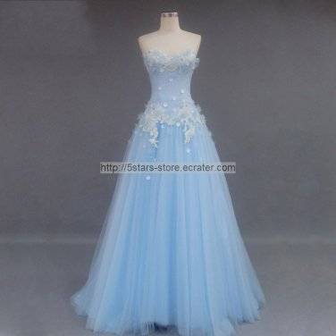 Blue Tulle Evening Dress SWEETHEART Flower Lace Up BAck Long Prom Gowns E156