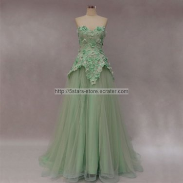 Blue Gold Evening Dress Lace Tulle Green Red Flowers Sexy Formal Prom Evening Gowns  D201569