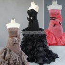 Organza Wedding Dress Fuchsia Red Pink Long Prom Ball Gowns Mermaid Dresses D2015618