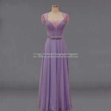 Lilac Purple Formal Dress Sheer Neckline Lace Chiffon Kate Prom Gowns Evening Dresses D20162