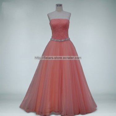 Coral Green Prom Dress A-line Tulle A-line Strapless Prom Ball Gowns Dresses D2015627